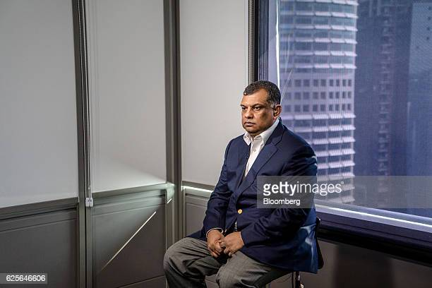 Tony Fernandes groupchief executive officer of AirAsia Bhd sits for a photograph ahead of a Bloomberg Television interview in Kuala Lumpur Malaysia...