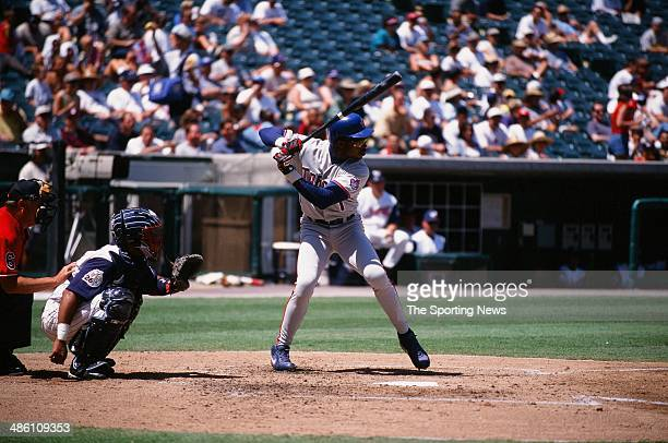 Tony Fernandez of the Toronto Blue Jays bats against the Anaheim Angels at Angel Stadium on August 25 1999 in Anaheim California