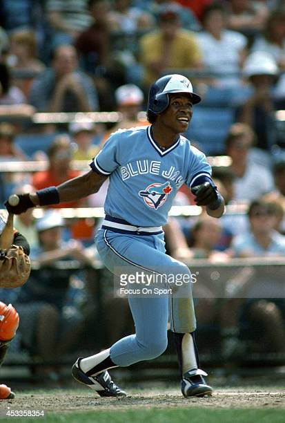 Tony Fernandez of the Toronto Blue Jays bats against the Baltimore Orioles during an Major League Baseball game circa 1985 at Memorial Stadium in...
