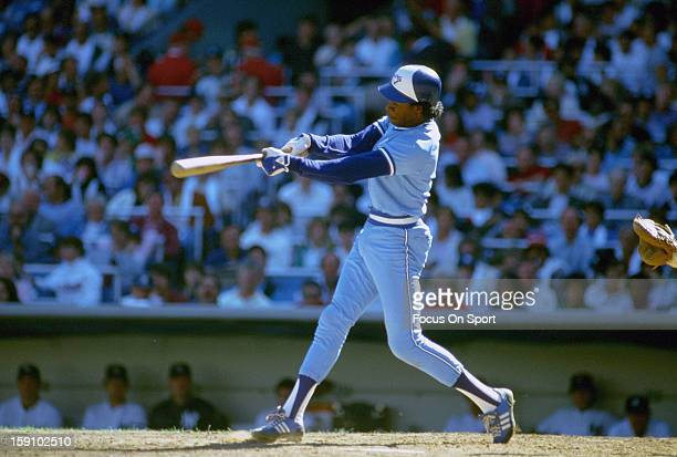Tony Fernandez of the Toronto Blue Jays bats against the New York Yankees during an Major League Baseball game circa 1985 at Yankee Stadium in the...
