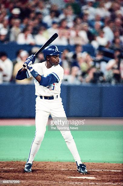 Tony Fernandez of the Toronto Blue Jays bats during a 1993 World Series game against the Philadelphia Phillies