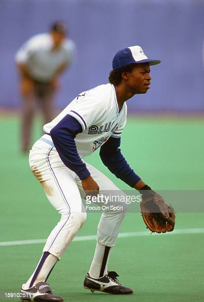 Tony Fernandez of the Toronto Blue Jays down and ready to make a play on the ball during an Major League Baseball game circa 1986 at the SkyDome in...