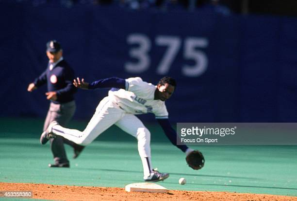 Tony Fernandez of the Toronto Blue Jays reacts up the middle to field a ground ball during an Major League Baseball game circa 1989 at Exhibition...