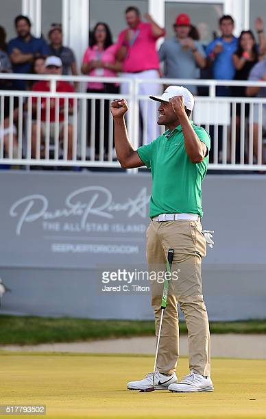 Tony Finau celebrates after defeating Steve Marino on the third playoff hole during the final round of the Puerto Rico Open at Coco Beach on March 27...