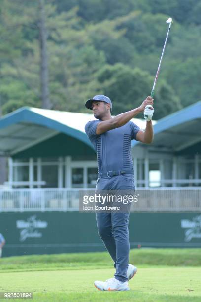 Tony Finau hits a tee shot on the 18th hole during the Military Tribute at the Greenbrier Classic on July 05, 2018 in White Sulphur Springs, WV.