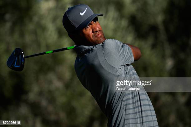 Tony Finau hits his tee shot on the 15th hole during the third round of the Shriners Hospitals For Children Open at the TPC Summerlin on November 4...