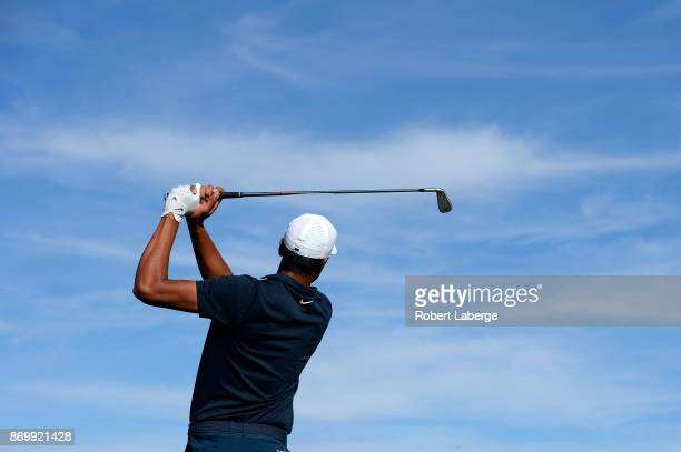 Tony Finau hits his tee shot on the 17th hole during the second round of the Shriners Hospitals For Children Open at the TPC Summerlin on November 3...