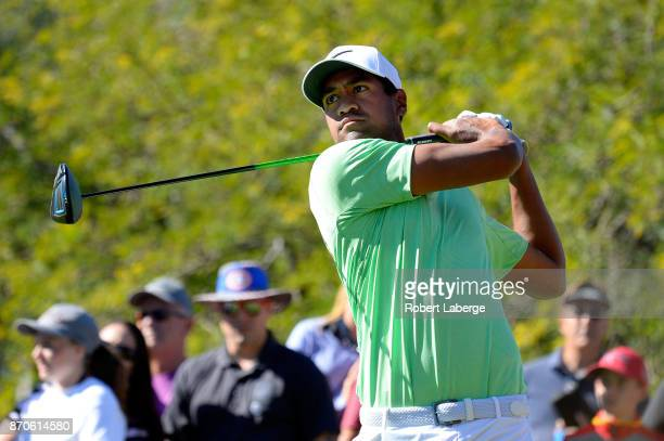 Tony Finau hits his tee shot on the fourth hole during the final round of the Shriners Hospitals For Children Open at the TPC Summerlin on November 5...