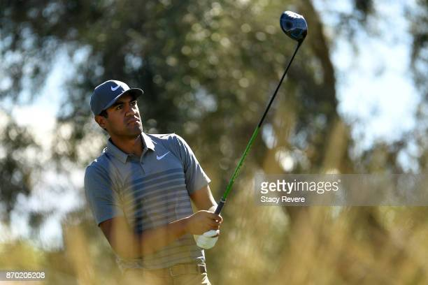 Tony Finau hits his tee shot on the ninth hole during the third round of the Shriners Hospitals For Children Open at the TPC Summerlin on November 4...
