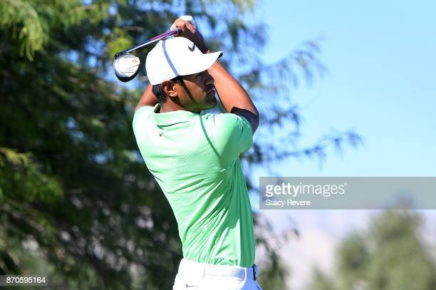 Tony Finau hits his tee shot on the second hole during the final round of the Shriners Hospitals For Children Open at the TPC Summerlin on November 5...