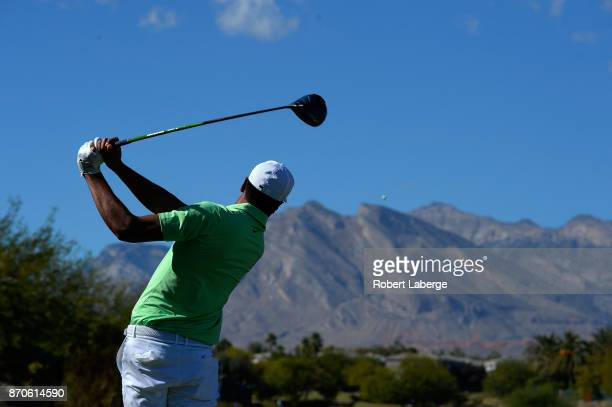 Tony Finau hits his tee shot on the sixth hole during the final round of the Shriners Hospitals For Children Open at the TPC Summerlin on November 5...