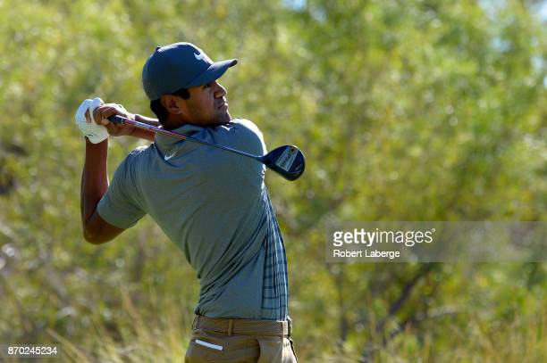 Tony Finau hits his tee shot on the third hole during the third round of the Shriners Hospitals For Children Open at the TPC Summerlin on November 4...