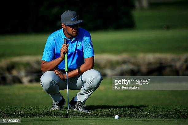 Tony Finau lines up a putt during the Sony Open In Hawaii ProAm tournament at Waialae Country Club on January 13 2016 in Honolulu Hawaii