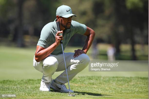 Tony Finau lines up a putt on the second green during the final round of World Golf ChampionshipsMexico Championship at Club De Golf Chapultepec on...