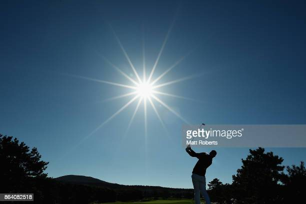 Tony Finau of the United States hits his tee shot on the 4th hole during the third round of the CJ Cup at Nine Bridges on October 21 2017 in Jeju...