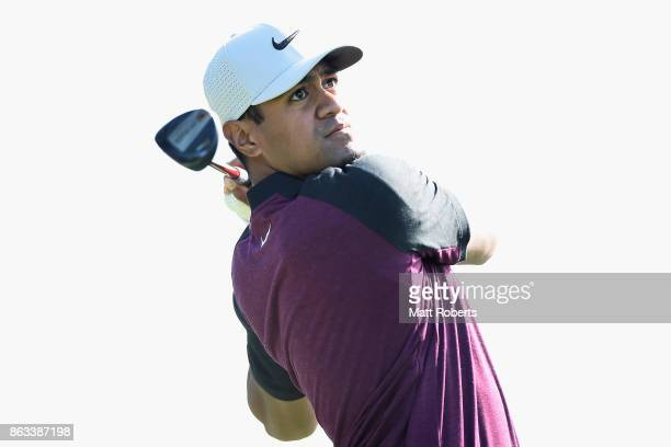 Tony Finau of the United States hits his tee shot on the 6th hole during the second round of the CJ Cup at Nine Bridges on October 20 2017 in Jeju...