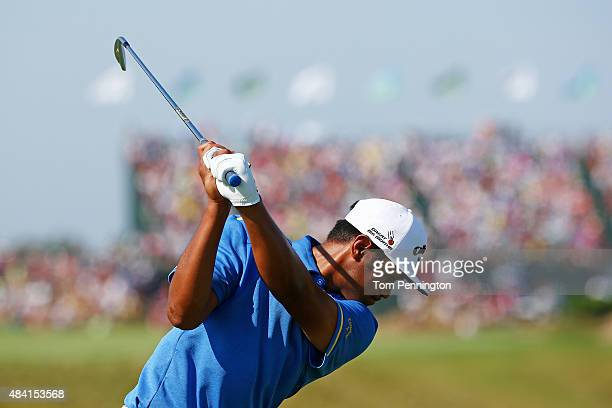 Tony Finau of the United States hits his tee shot on the sixth hole during the third round of the 2015 PGA Championship at Whistling Straits on...