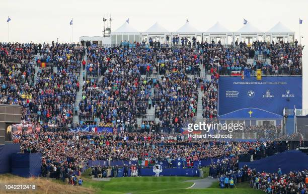 Tony Finau of the United States hits the opening shot off the 1st tee during the morning fourball matches of the 2018 Ryder Cup at Le Golf National...