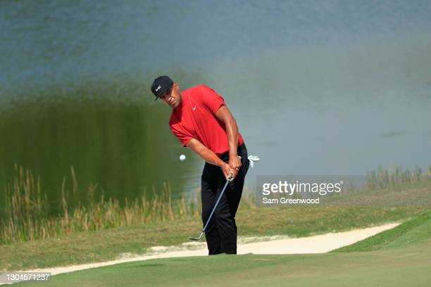 Tony Finau of the United States plays a shot from a bunker on the second hole during the final round of World Golf Championships-Workday Championship...
