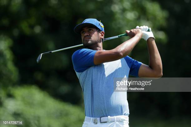Tony Finau of the United States plays a shot on the first hole during the second round of the 2018 PGA Championship at Bellerive Country Club on...
