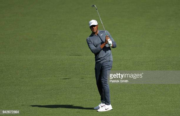 Tony Finau of the United States plays a shot on the second hole during the second round of the 2018 Masters Tournament at Augusta National Golf Club...