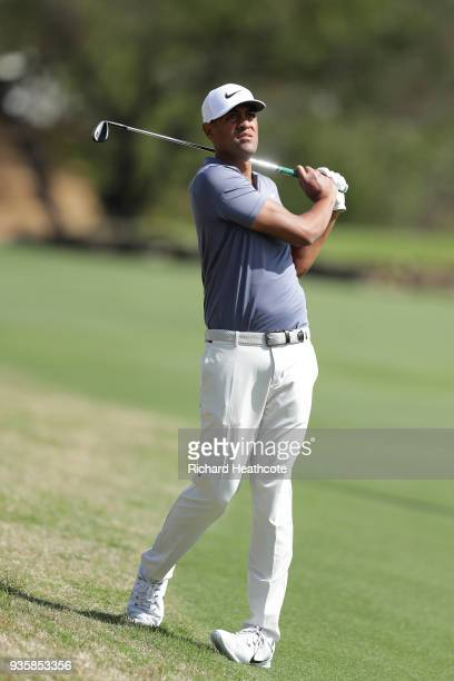 Tony Finau of the United States plays his second shot on the second hole during the first round of the World Golf ChampionshipsDell Match Play at...