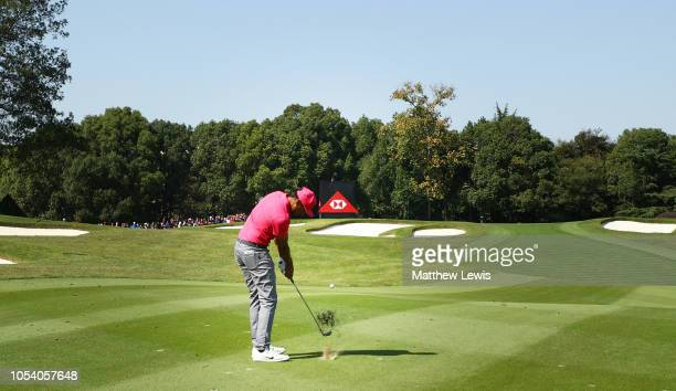 Tony Finau of the United States plays his second shot on the third hole during the third round of the WGC HSBC Champions at Sheshan International...