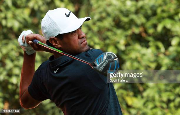 Tony Finau of the United States plays his shot from the 13th tee during the second round of the WGC HSBC Champions at Sheshan International Golf Club...