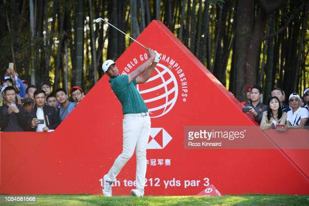 Tony Finau of the United States plays his shot from the 17th tee during the final round of the WGC HSBC Champions at Sheshan International Golf Club...