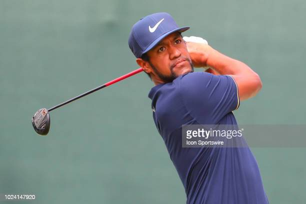 Tony Finau of the United States plays his shot from the first tee during the third round of The Northern Trust on August 25, 2018 at the Ridgewood...
