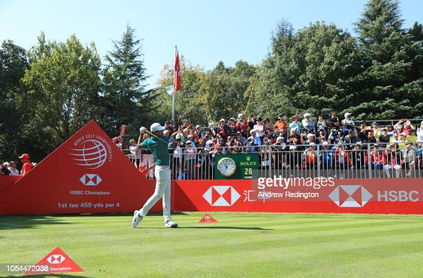 Tony Finau of the United States plays his shot from the first tee during the final round of the WGC HSBC Champions at Sheshan International Golf Club...