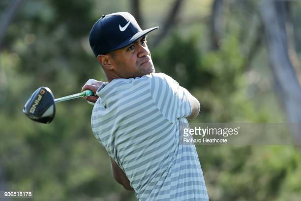 Tony Finau of the United States plays his shot from the second tee during the second round of the World Golf ChampionshipsDell Match Play at Austin...