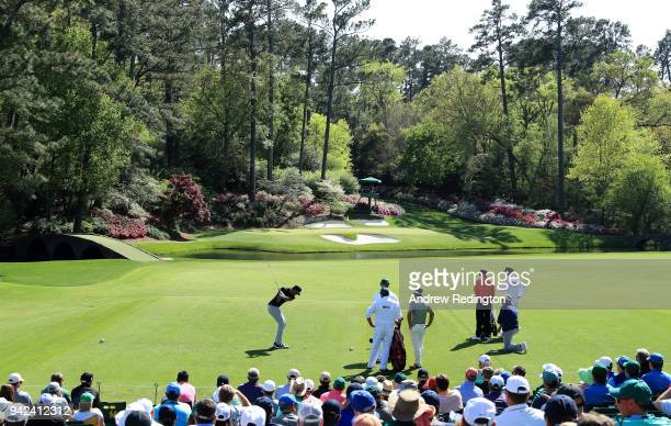 Tony Finau of the United States plays his shot from the second tee during the first round of the 2018 Masters Tournament at Augusta National Golf...