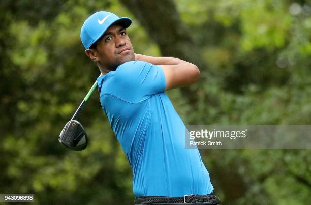 Tony Finau of the United States plays his shot from the second tee during the third round of the 2018 Masters Tournament at Augusta National Golf...