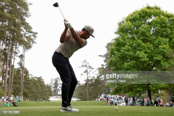 Tony Finau of the United States plays his shot from the seventh tee during the first round of the Masters at Augusta National Golf Club on April 08,...