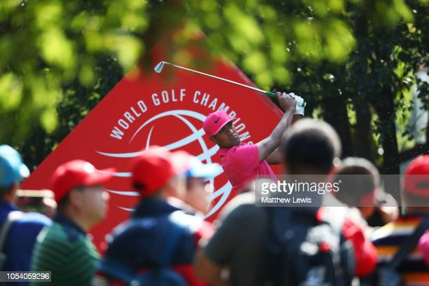 Tony Finau of the United States plays his shot from the sixth tee during the third round of the WGC HSBC Champions at Sheshan International Golf Club...