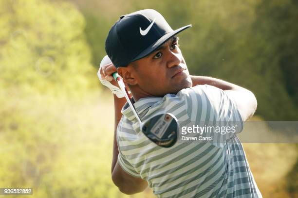 Tony Finau of the United States plays his shot from the third tee during the second round of the World Golf ChampionshipsDell Match Play at Austin...