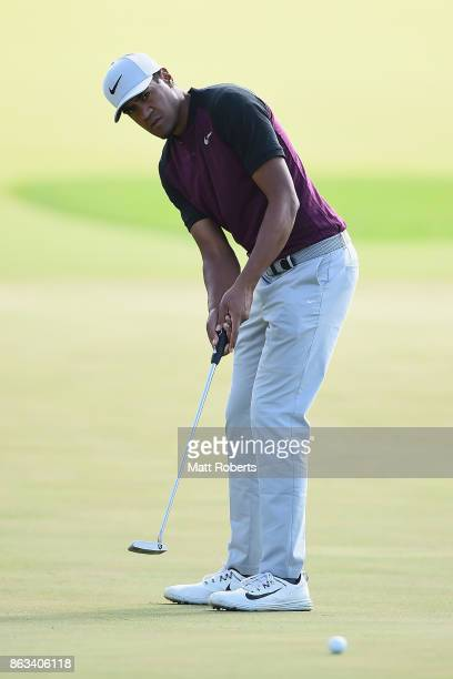 Tony Finau of the United States putts on the 5th green during the second round of the CJ Cup at Nine Bridges on October 20 2017 in Jeju South Korea