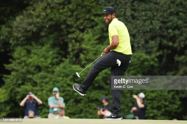 Tony Finau of the United States reacts to a putt on the 15th green during the second round of the Masters at Augusta National Golf Club on April 09,...