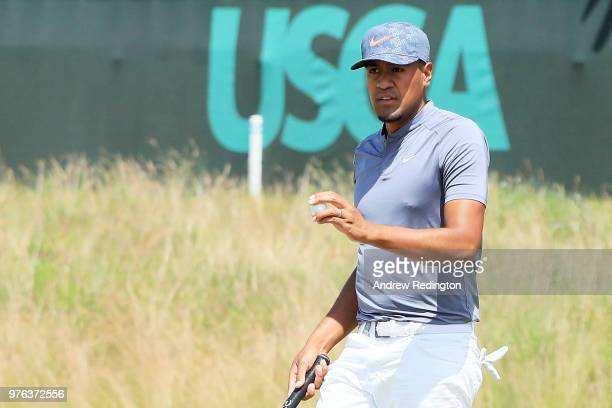 Tony Finau of the United States walks on the 16th green during the third round of the 2018 US Open at Shinnecock Hills Golf Club on June 16 2018 in...