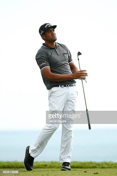 Tony Finau of the United States watches his tee shot on the third hole during the first round of the 2015 PGA Championship at Whistling Straits on...