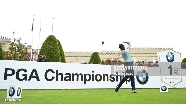 Tony Finau of the USA on the first tee during a practice round prior to the BMW PGA Championship at Wentworth Golf Club on September 16 2019 in...