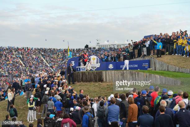 Tony Finau of USA on the third tee during Day One of the 2018 Ryder Cup at Le Golf National on September 28 2018 in Paris France