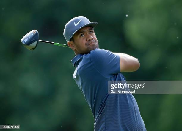 Tony Finau plays a shot during a practice round prior to The Memorial Tournament Presented By Nationwide at Muirfield Village Golf Club on May 29...