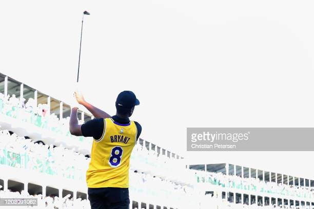 Tony Finau plays his a tee shot on the 16th hole while wearing a jersey of former NBA player Kobe Bryant during the first round of the Waste...