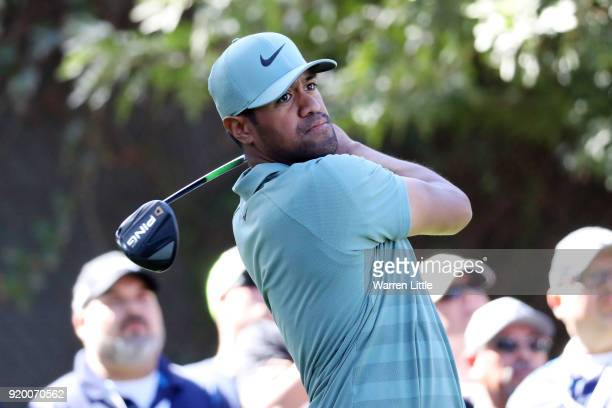 Tony Finau plays his shot from the 11th tee during the final round of the Genesis Open at Riviera Country Club on February 18 2018 in Pacific...