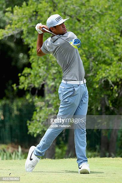 Tony Finau plays his shot from the 12th tee during Round Three at the ATT Byron Nelson on May 21 2016 in Irving Texas