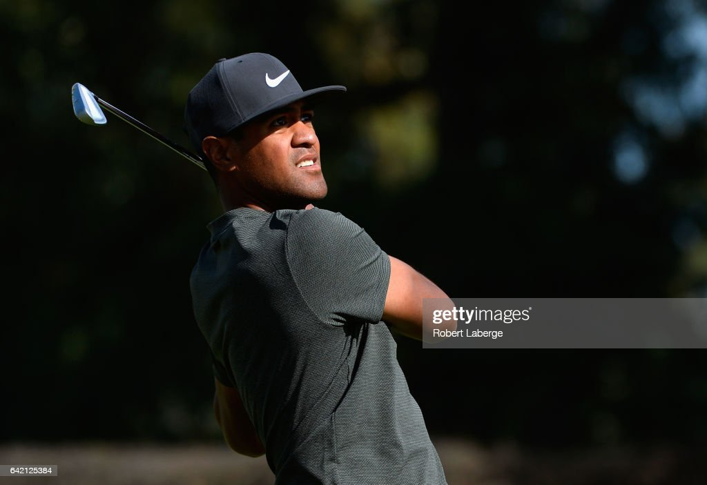 Tony Finau plays his shot from the 14th tee during the first round at the Genesis Open at Riviera Country Club on February 16, 2017 in Pacific Palisades, California.