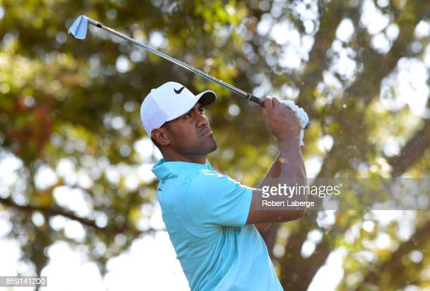 Tony Finau plays his shot from the 15th tee during the final round of the Safeway Open at the North Course of the Silverado Resort and Spa on October...