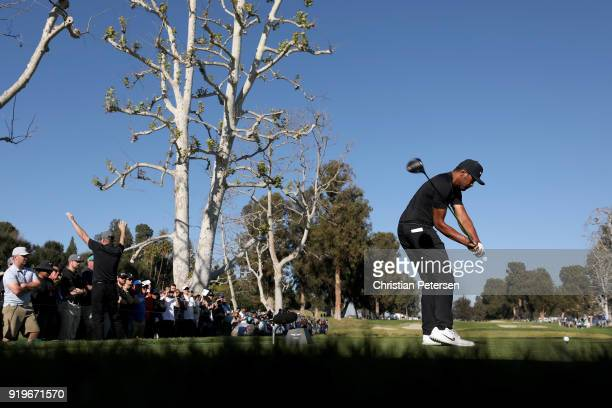 Tony Finau plays his shot from the 17th tee during the third round of the Genesis Open at Riviera Country Club on February 17 2018 in Pacific...